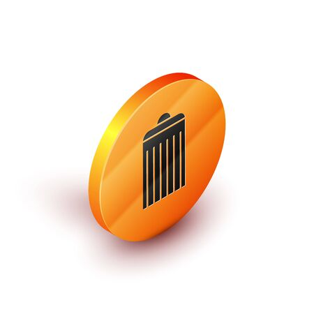 Isometric Trash can icon isolated on white background. Garbage bin sign. Recycle basket icon. Office trash icon. Orange circle button. Vector Illustration