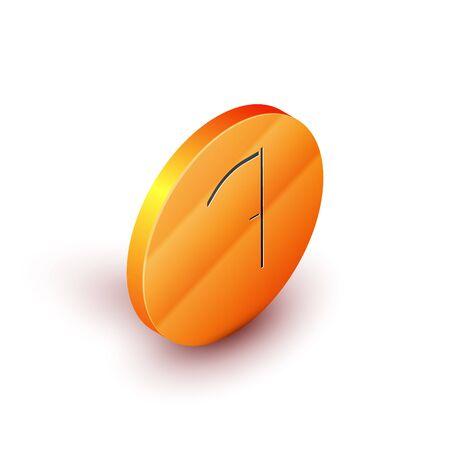 Isometric Scythe icon isolated on white background. Orange circle button. Vector Illustration