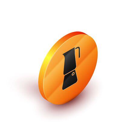 Isometric Moka pot icon isolated on white background. Coffee maker. Orange circle button. Vector Illustration Ilustração