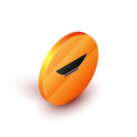 Isometric Bowl icon isolated on white background. Orange circle button. Vector Illustration 向量圖像