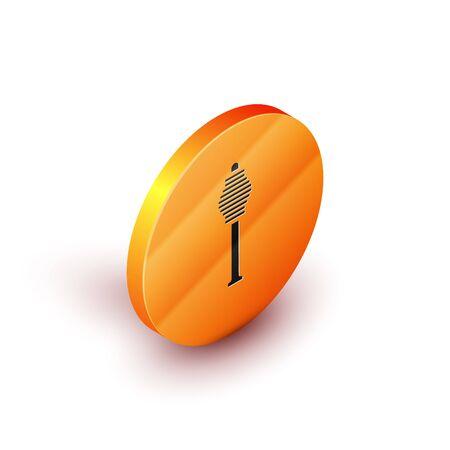 Isometric Honey dipper stick icon isolated on white background. Honey ladle. Orange circle button. Vector Illustration