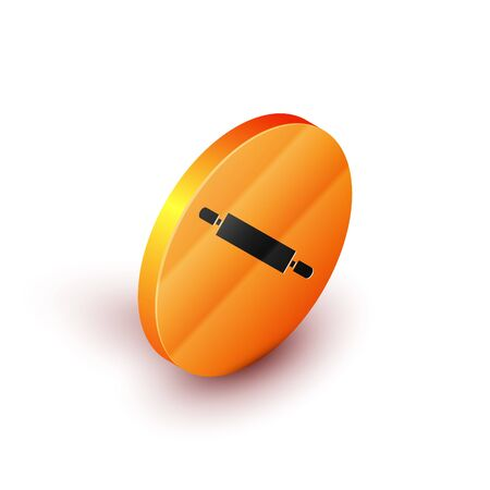 Isometric Rolling pin icon isolated on white background. Orange circle button. Vector Illustration 向量圖像