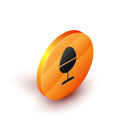 Isometric Chicken egg on a stand icon isolated on white background. Orange circle button. Vector Illustration 向量圖像