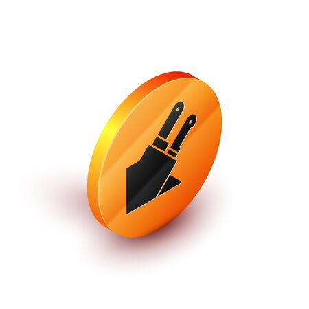 Isometric Knife icon isolated on white background. Cutlery symbol. Orange circle button. Vector Illustration 向量圖像