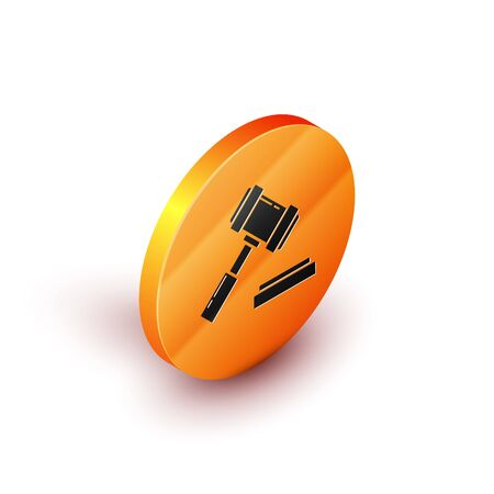 Isometric Judge gavel icon isolated on white background. Gavel for adjudication of sentences and bills, court, justice. Auction hammer. Orange circle button. Vector Illustration