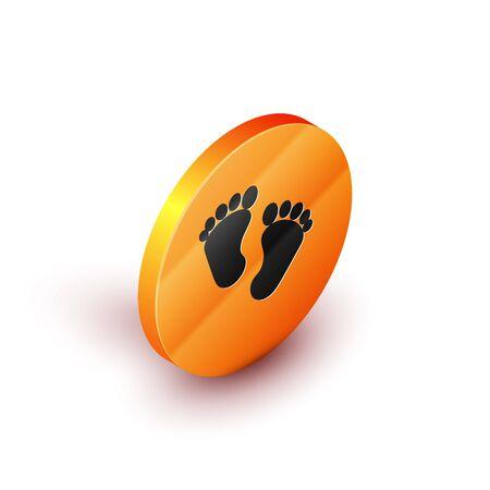 Isometric Baby footprints icon isolated on white background. Baby feet sign. Orange circle button. Vector Illustration Çizim
