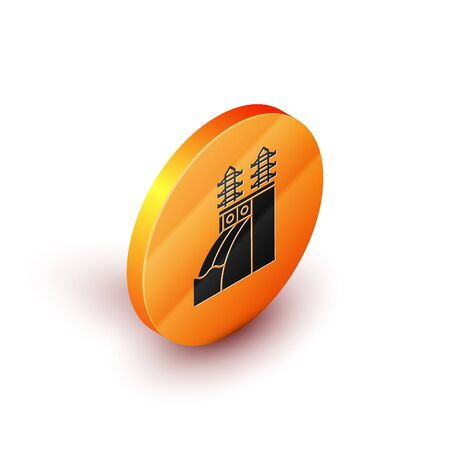 Isometric Nuclear power plant icon isolated on white background. Energy industrial concept. Orange circle button. Vector Illustration