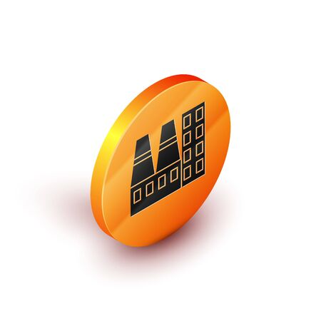 Isometric Power station plant and factory icon isolated on white background. Energy industrial concept. Orange circle button. Vector Illustration