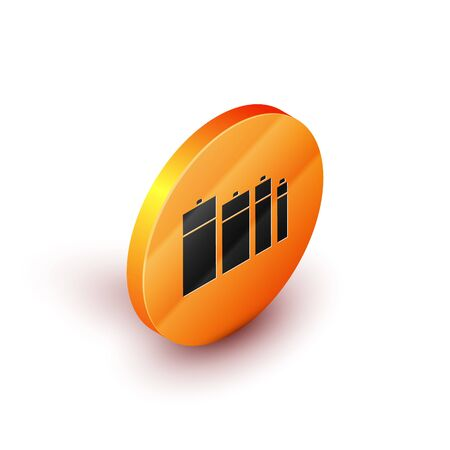 Isometric Battery icon isolated on white background. Lightning bolt symbol. Orange circle button. Vector Illustration