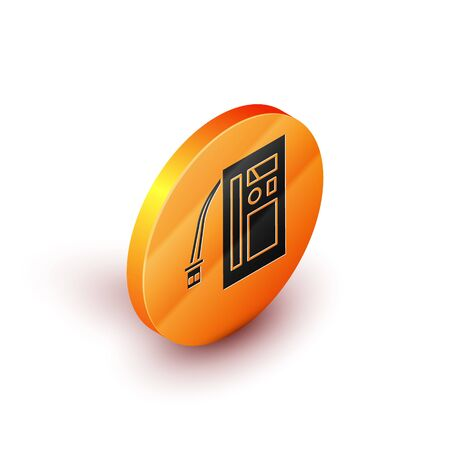 Isometric Battery icon isolated on white background. Accumulator battery energy power and electricity accumulator battery. Orange circle button. Vector Illustration Иллюстрация