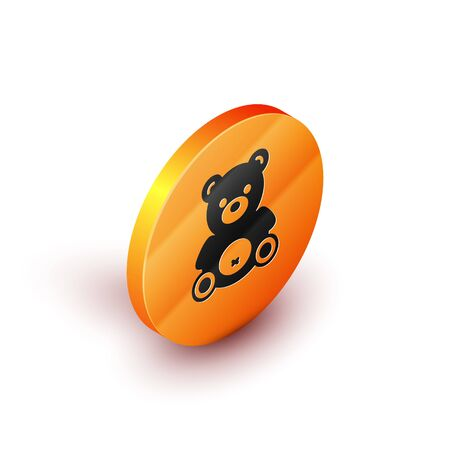 Isometric Teddy bear plush toy icon isolated on white background. Orange circle button. Vector Illustration