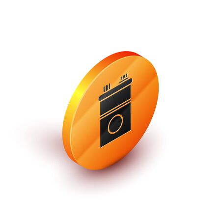 Isometric Car battery icon isolated on white background. Accumulator battery energy power and electricity accumulator battery. Orange circle button. Vector Illustration