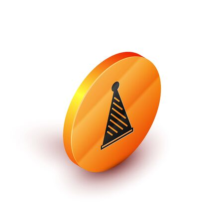 Isometric Party hat icon isolated on white background. Birthday hat. Orange circle button. Vector Illustration