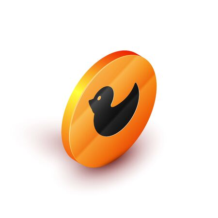 Isometric Rubber duck icon isolated on white background. Orange circle button. Vector Illustration