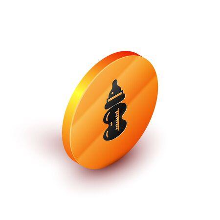 Isometric Baby bottle icon isolated on white background. Feeding bottle icon. Milk bottle sign. Orange circle button. Vector Illustration Illustration