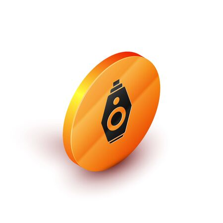 Isometric Car key with remote icon isolated on white background. Car key and alarm system. Orange circle button. Vector Illustration