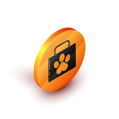 Isometric Pet first aid kit icon isolated on white background. Dog or cat paw print. Clinic box. Orange circle button. Vector Illustration Illustration