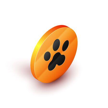 Isometric Paw print icon isolated on white background. Dog or cat paw print. Animal track. Orange circle button. Vector Illustration
