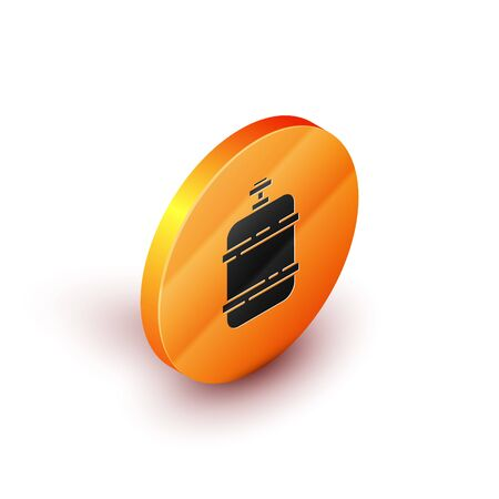 Isometric Propane gas tank icon isolated on white background. Flammable gas tank icon. Orange circle button. Vector Illustration  イラスト・ベクター素材