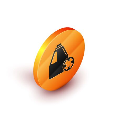 Isometric Antifreeze canister icon isolated on white background. Auto service. Car repair. Orange circle button. Vector Illustration 向量圖像