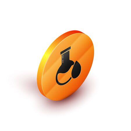 Isometric Oil petrol test tube icon isolated on white background. Orange circle button. Vector Illustration Illustration