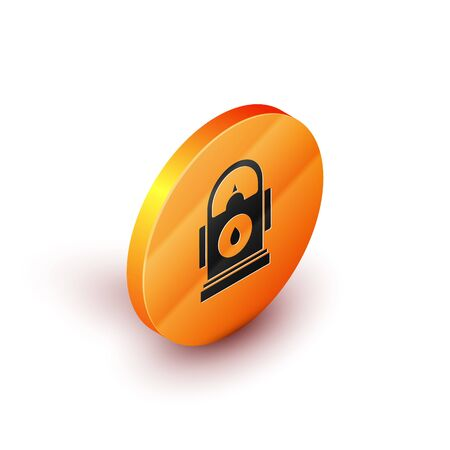 Isometric Petrol or Gas station icon isolated on white background. Car fuel symbol. Gasoline pump. Orange circle button. Vector Illustration