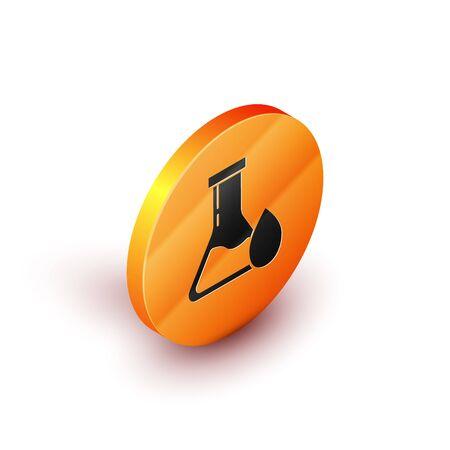 Isometric Oil petrol test tube icon isolated on white background. Orange circle button. Vector Illustration