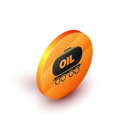 Isometric Oil railway cistern icon isolated on white background. Train oil tank on railway car. Rail freight. Oil industry. Orange circle button. Vector Illustration