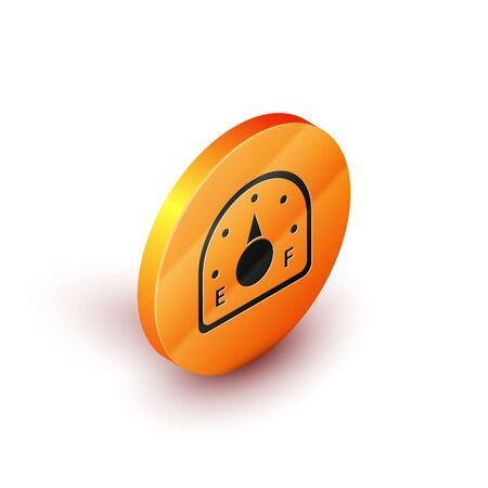 Isometric Motor gas gauge icon isolated on white background. Empty fuel meter. Full tank indication. Orange circle button. Vector Illustration  イラスト・ベクター素材