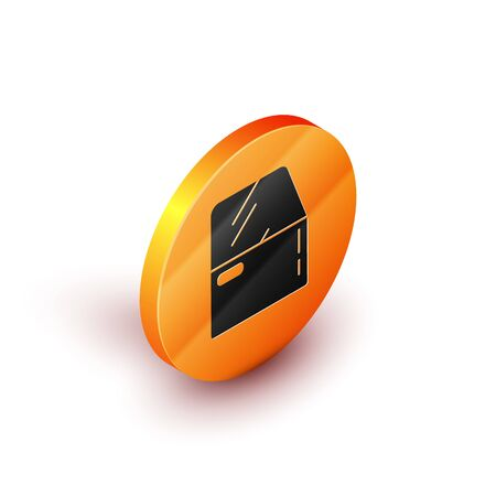 Isometric Car door icon isolated on white background. Orange circle button. Vector Illustration