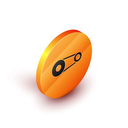 Isometric Timing belt kit icon isolated on white background. Orange circle button. Vector Illustration Çizim