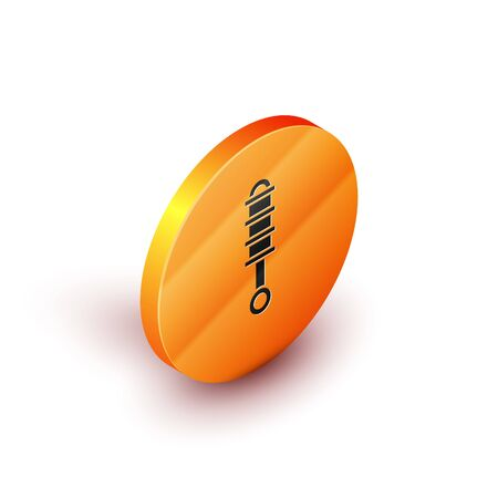 Isometric Shock absorber icon isolated on white background. Orange circle button. Vector Illustration