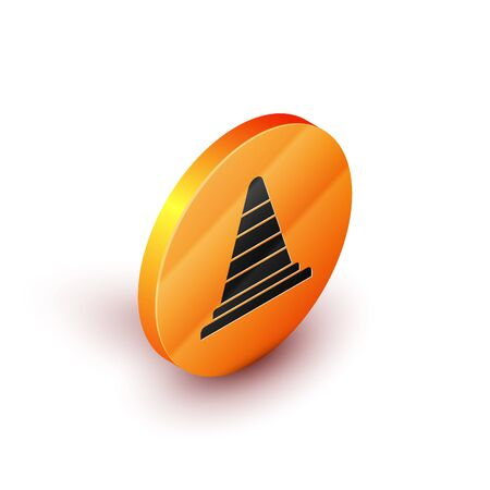 Isometric Traffic cone icon isolated on white background. Orange circle button. Vector Illustration