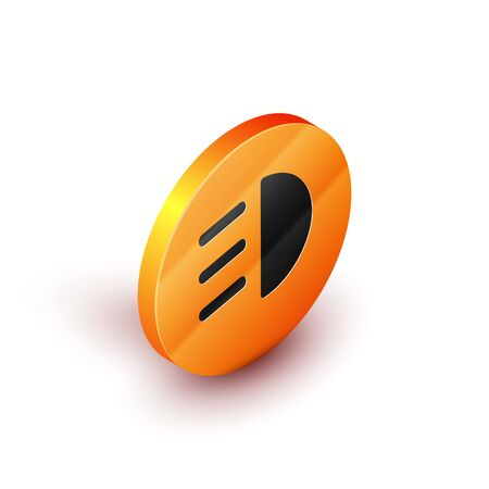 Isometric High beam icon isolated on white background. Car headlight. Orange circle button. Vector Illustration Banque d'images - 134691868
