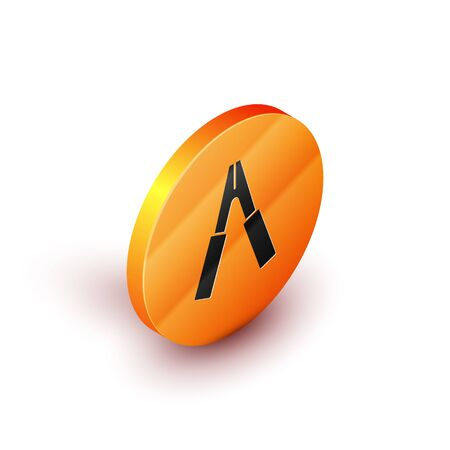 Isometric Car battery jumper power cable icon isolated on white background. Orange circle button. Vector Illustration