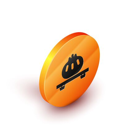 Isometric Dumpling on cutting board icon isolated on white background. Traditional chinese dish. Orange circle button. Vector Illustration
