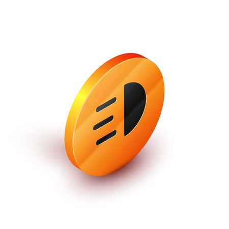 Isometric High beam icon isolated on white background. Car headlight. Orange circle button. Vector Illustration