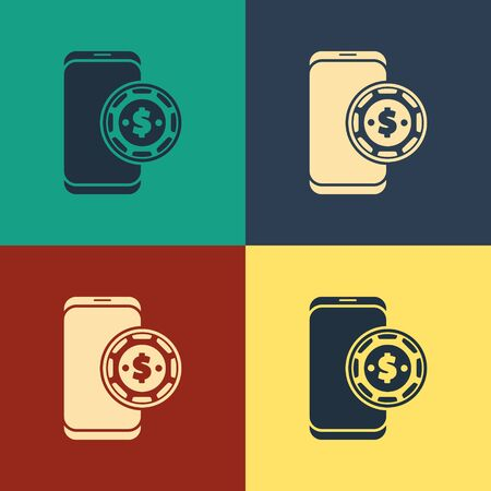 Color Online poker table game icon isolated on color background. Online casino. Vintage style drawing. Vector Illustration