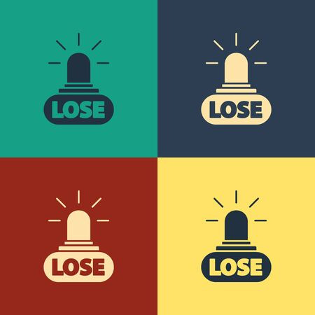 Color Casino losing icon isolated on color background. Vintage style drawing. Vector Illustration
