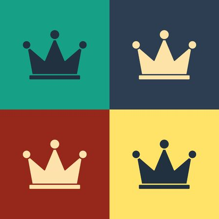 Color Crown icon isolated on color background. Vintage style drawing. Vector Illustration Illusztráció