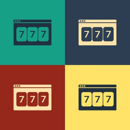 Color Online slot machine with lucky sevens jackpot icon isolated on color background. Online casino. Vintage style drawing. Vector Illustration Çizim