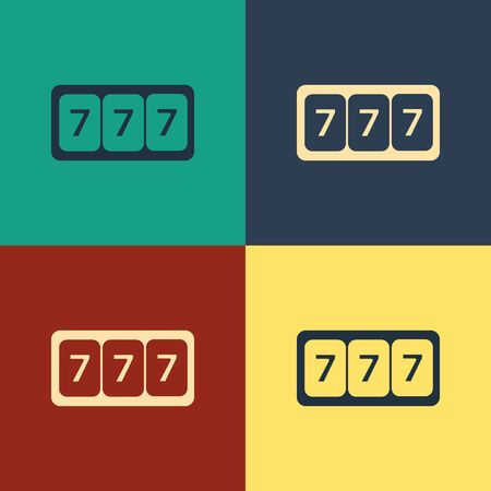 Color Slot machine with lucky sevens jackpot icon isolated on color background. Vintage style drawing. Vector Illustration