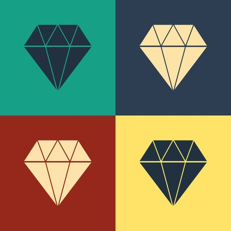 Color Diamond icon isolated on color background. Jewelry symbol. Gem stone. Vintage style drawing. Vector Illustration Иллюстрация