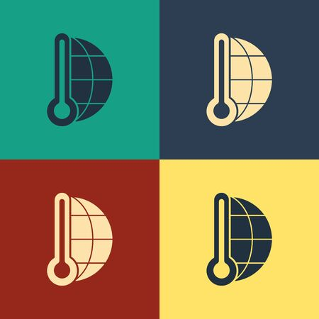Color Meteorology thermometer measuring heat and cold icon isolated on color background. Thermometer equipment showing hot or cold weather. Vintage style drawing. Vector Illustration