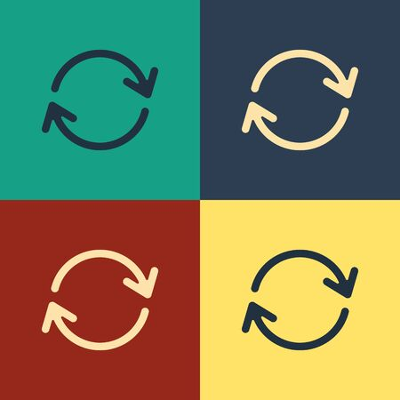 Color Refresh icon isolated on color background. Reload symbol. Rotation arrows in a circle sign. Vintage style drawing. Vector Illustration
