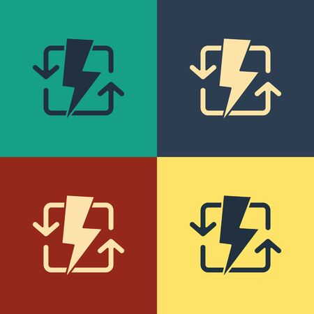 Color Recharging icon isolated on color background. Electric energy sign. Vintage style drawing. Vector Illustration