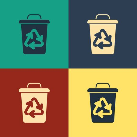 Color Recycle bin with recycle symbol icon isolated on color background. Trash can icon. Garbage bin sign. Recycle basket sign. Vintage style drawing. Vector Illustration