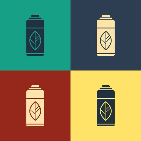 Color Recycling plastic bottle icon isolated on color background. Vintage style drawing. Vector Illustration Stock Vector - 134743036