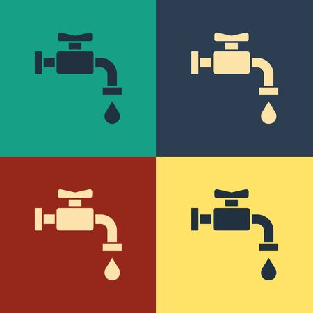 Color Water tap icon isolated on color background. Vintage style drawing. Vector Illustration Çizim