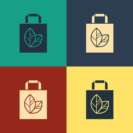 Color Paper shopping bag with recycle icon isolated on color background. Bag with recycling symbol. Vintage style drawing. Vector Illustration